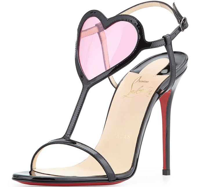 Sweet yet sultry, this T-strap leather sandal is adorned with a see-through accent at the ankle that sets hearts aflutter as it flatters the curves of the foot