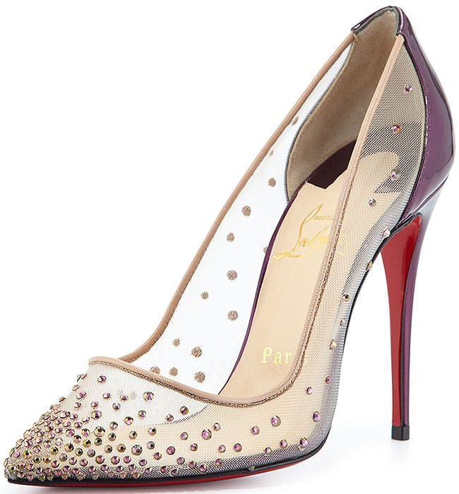"Christian Louboutin ""Follies"" Strass Mesh Pumps  in Purple/Nude"