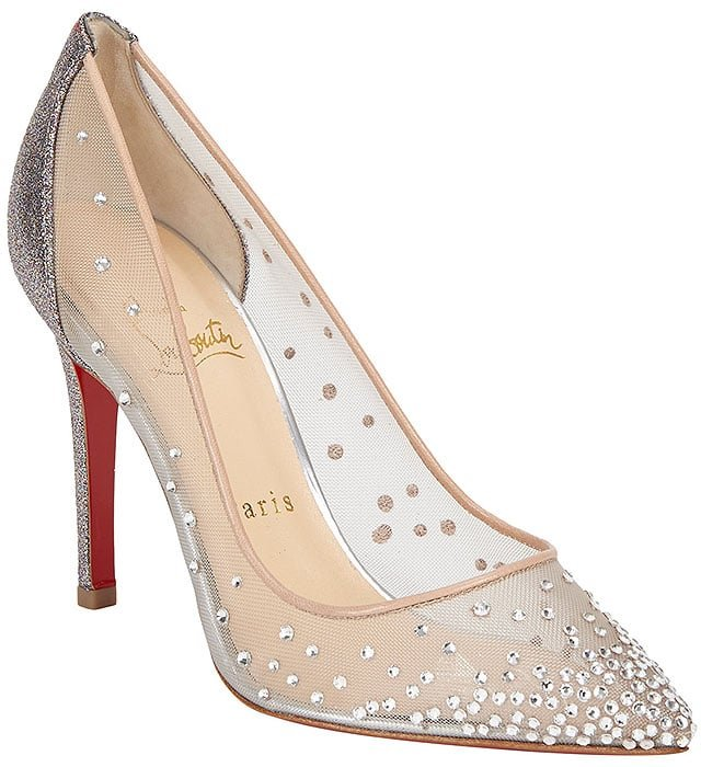 "Christian Louboutin ""Follies"" Strass Mesh Pumps in Multicolor Glitter/Nude"