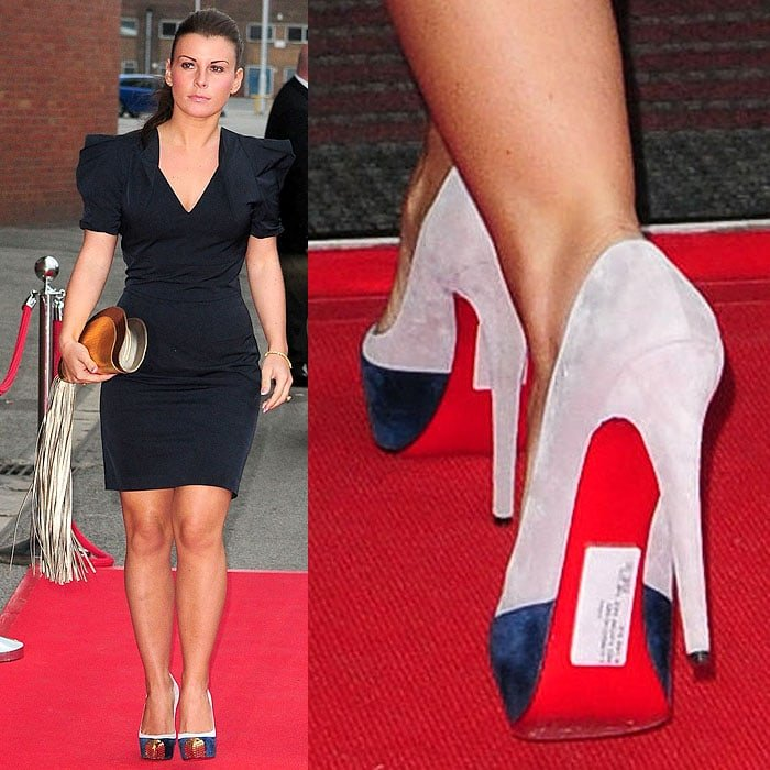 Coleen Rooney forgetting to take off the price tags from the soles of her Louboutin pumps