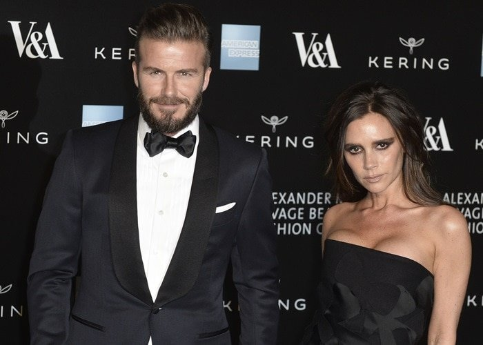 David Beckham and Victoria Beckham at the Alexander McQueen: Savage Beauty Fashion Gala held at the V&A in London on March 12, 2015
