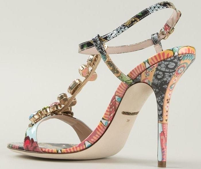 Dolce & Gabbana floral fans embellished sandal