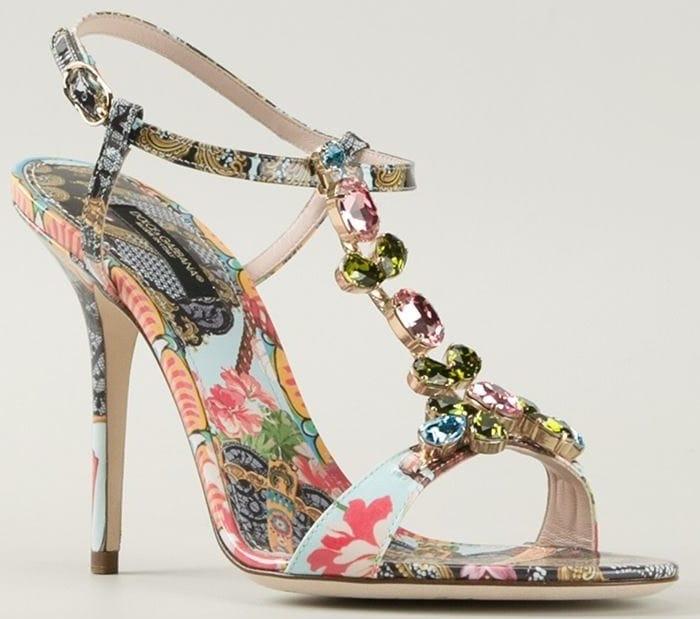 Dolce & Gabbana floral fans embellished sandals