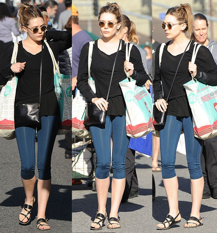Elizabeth Olsen rocked dark blue cropped leggings