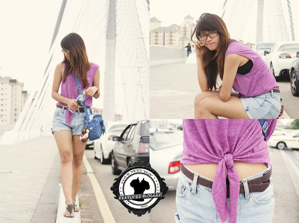 Elreena rocking high-waist denim shorts