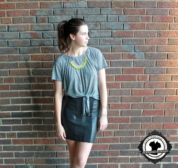 Emily in heathered gray tie-front tee