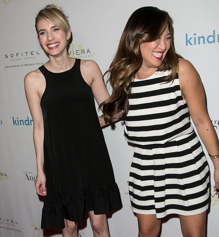 Emma Roberts and Jenna Noelle Ushkowitz at The Kindred Foundation for Adoption inaugural fundraiser at Riviera 31 at The Sofitel Hotel in Beverly Hills on March 3, 2015