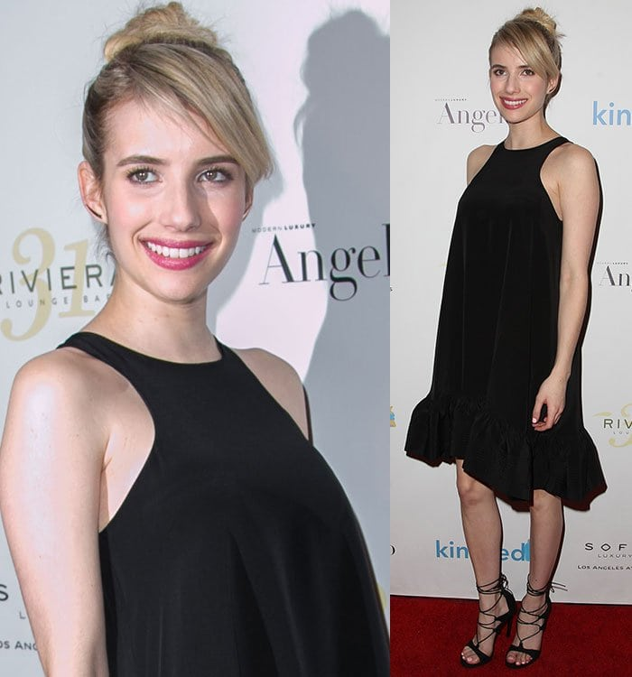 Emma Roberts' blonde hair was pulled back into a high bun with side-swept fringe
