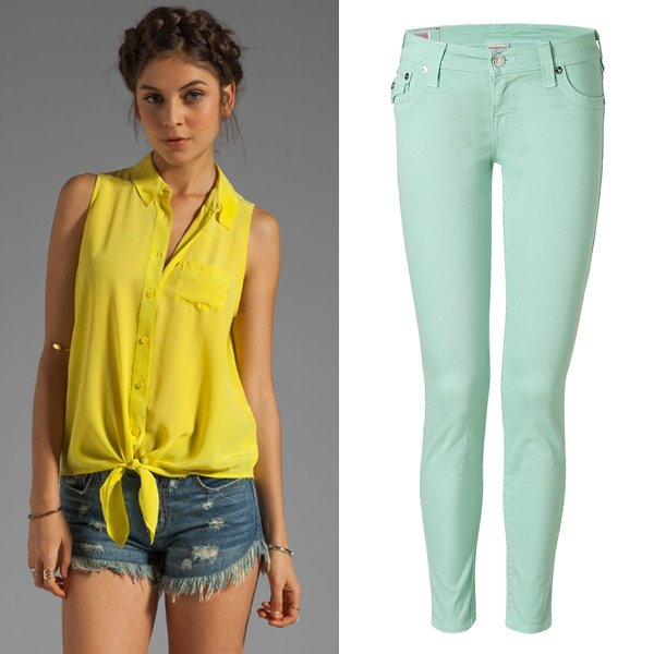 Equipment Mina Sleeveless Tie Front Blouse and True Religion Old Mint Misty Legging Finnigan Jeans