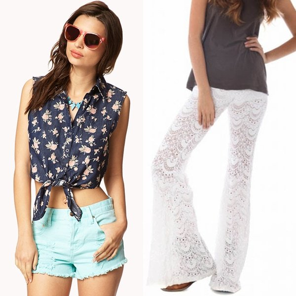 Forever 21 Front-Tie Floral Denim Shirt and Nightcap Clothing Spanish Lace Bell Bottoms in White