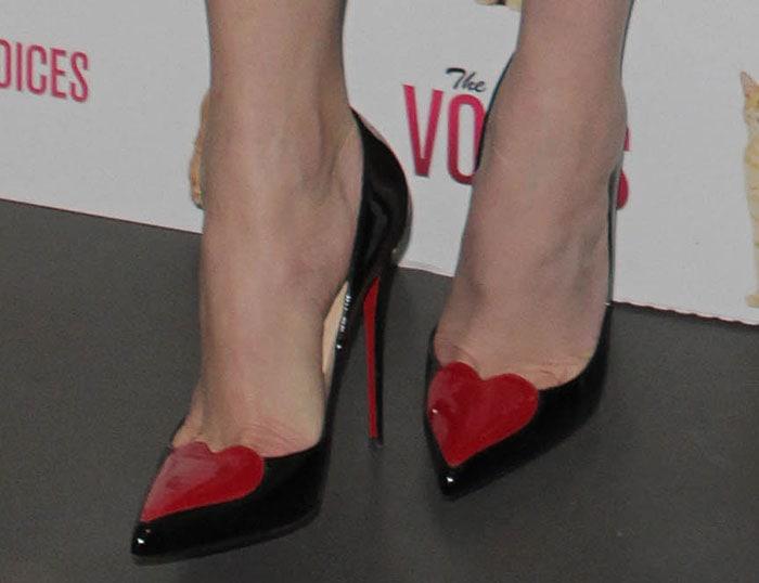 Gemma Arterton's feet in heart-embellished Christian Louboutin pumps