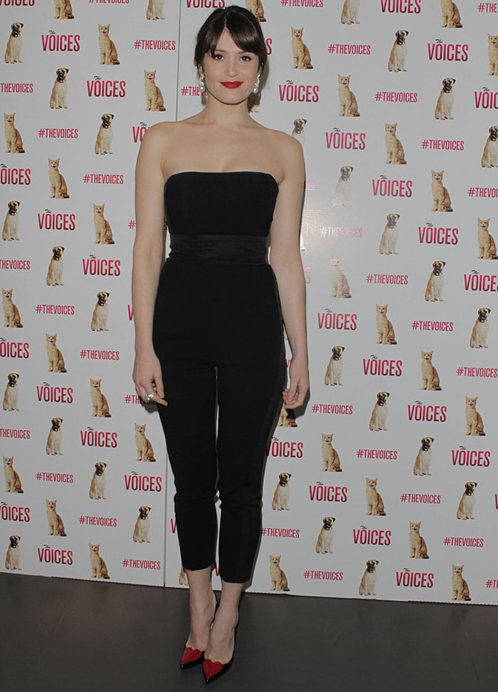 Gemma Arterton looks chic in a flattering strapless jumpsuit