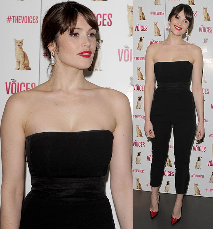 Gemma Arterton shows off her collarbone in a black jumpsuit