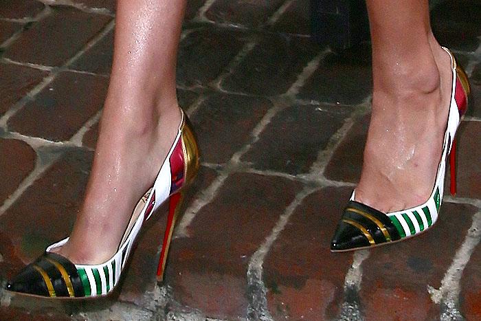 "Gigi Hadid's pretty feet in Christian Louboutin ""Bandy"" pumps"