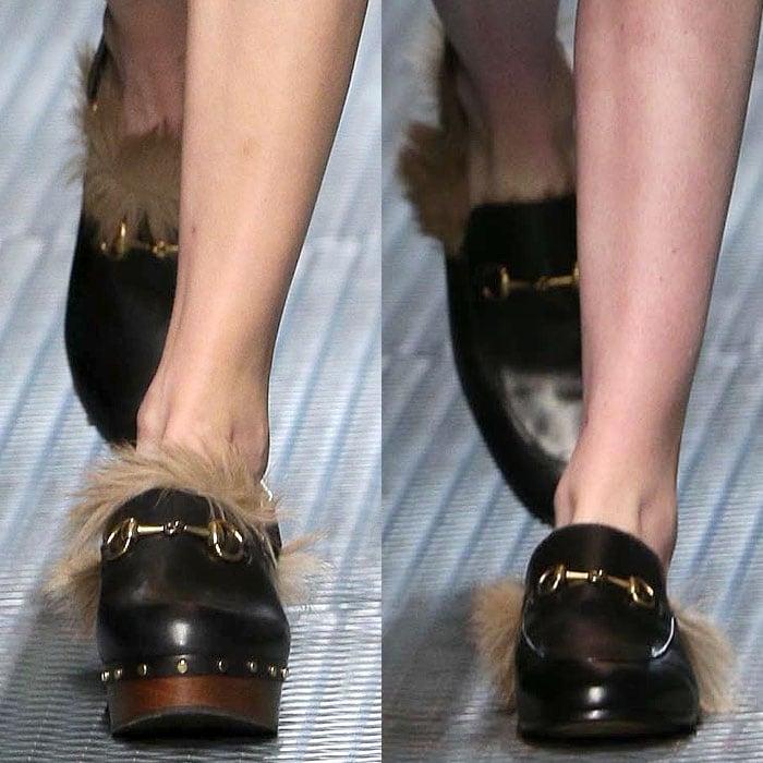 Gucci fall 2015 fur trim shoes