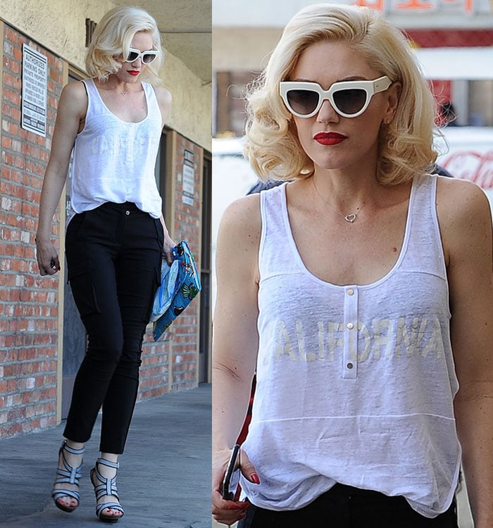 Gwen Stefani's blonde hair with side parting and curled ends