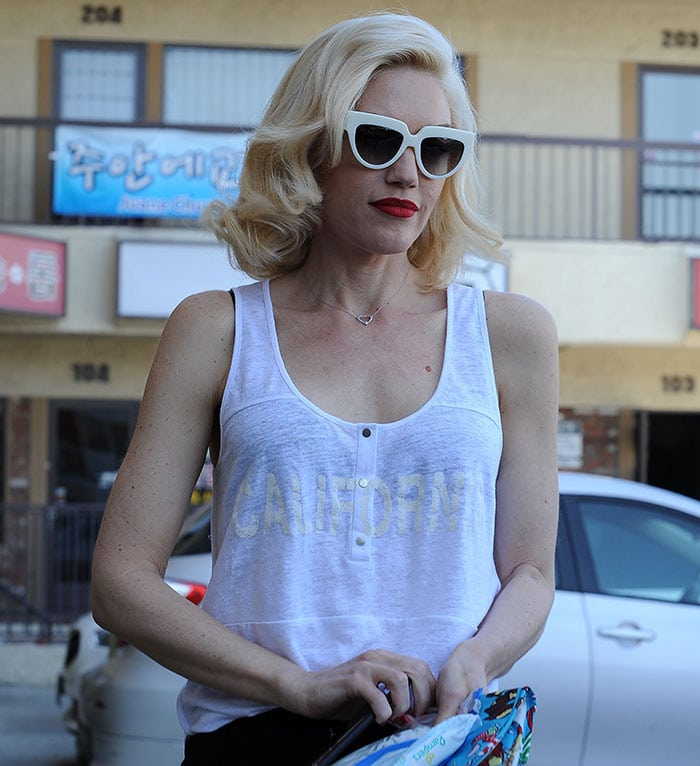 Gwen Stefani's shirt with California in white lettering emblazoned across the front