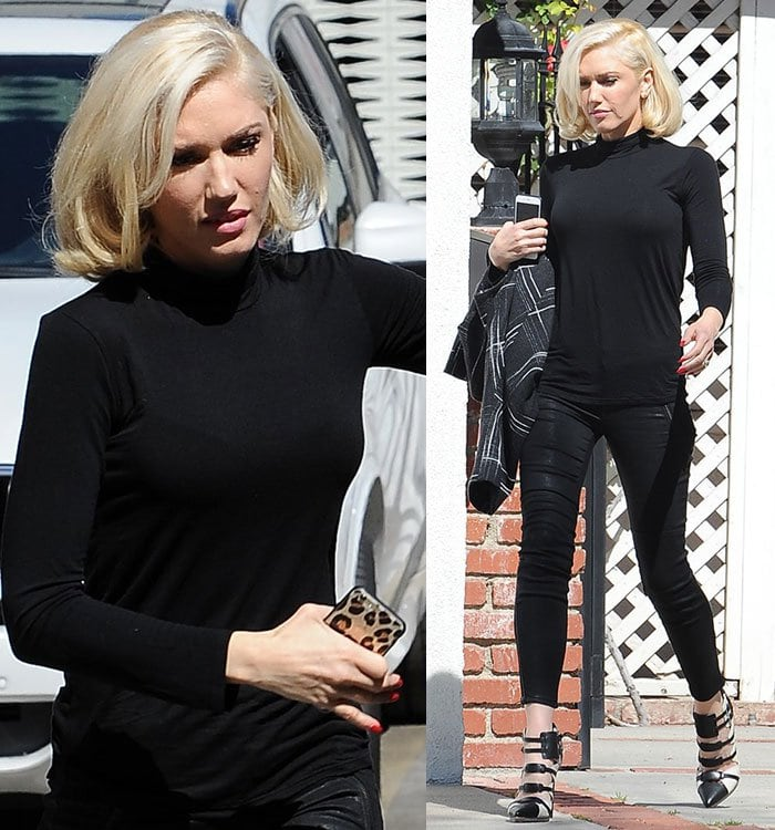 Gwen Stefani's high-necked, long-sleeved top paired with fitted waxy leather pants