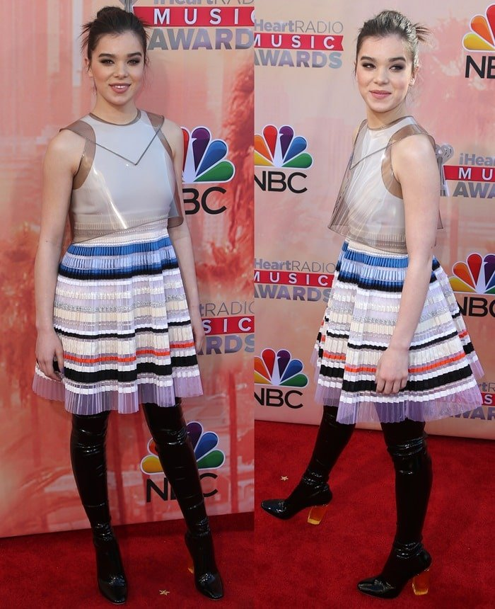 Hailee Steinfeld's Dior dress with transparent smoked plastic overlay