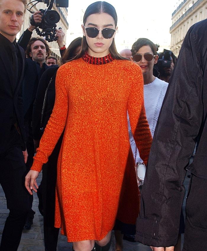 Hailee Steinfeld's orange sweater dress by Christian Dior