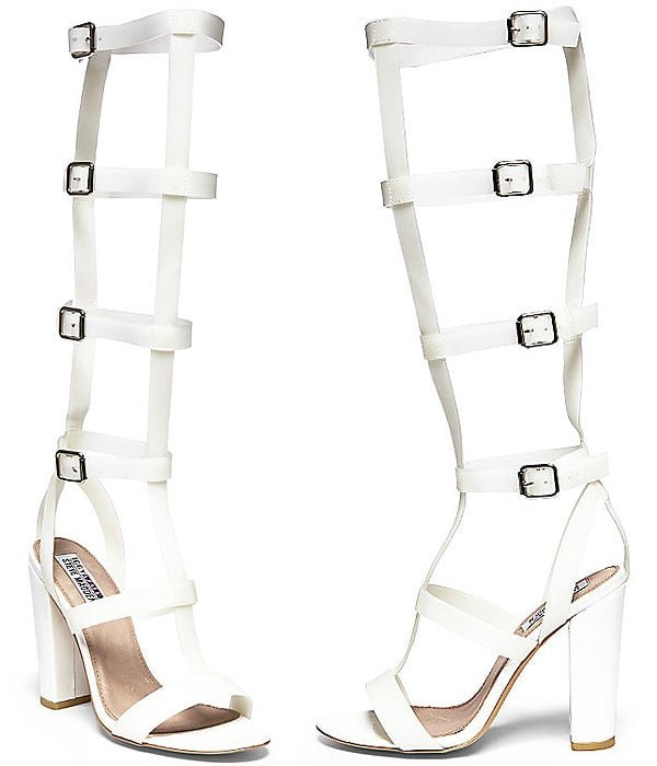 Bout-It Knee-High PVC Gladiator Sandals in White