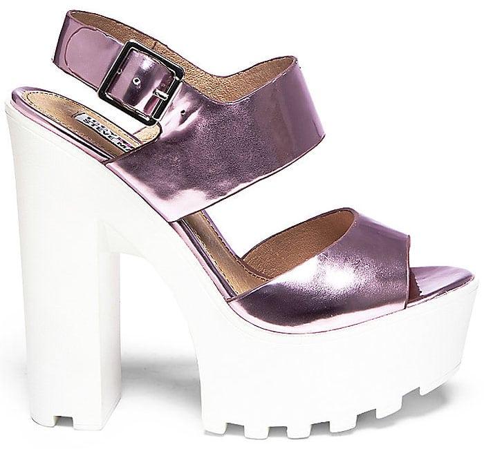 Iggy Azalea x Steve Madden Get-It Metallic Rubber-Platform Sandals in Pink