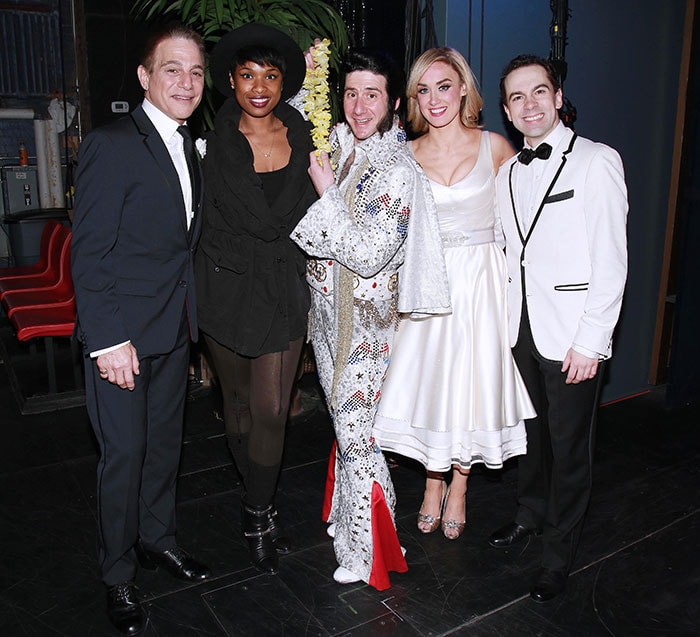 Jennifer Hudson visiting the cast of Honeymoon in Vegas on Broadway at the Nederlander Theatre in New York City on March 24, 2015