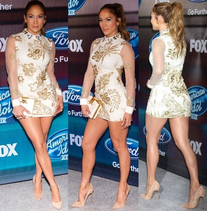 Jennifer Lopez styles an embellished Marchesa dress with suede heels