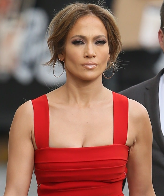 Jennifer Lopez heading into the Jimmy Kimmel Live! studios to tape an appearance in Hollywood on March 10, 2015