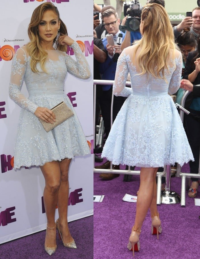 Jennifer Lopez donned a dreamy mini dress from the 2015 Zuhair Murad Autumn/Winter collection featuring intricate lace detail and sheer material
