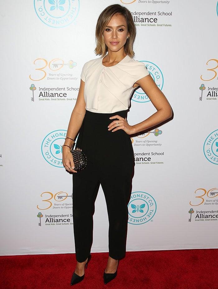 Jessica Alba's Max Mara Elegante monochrome jumpsuit