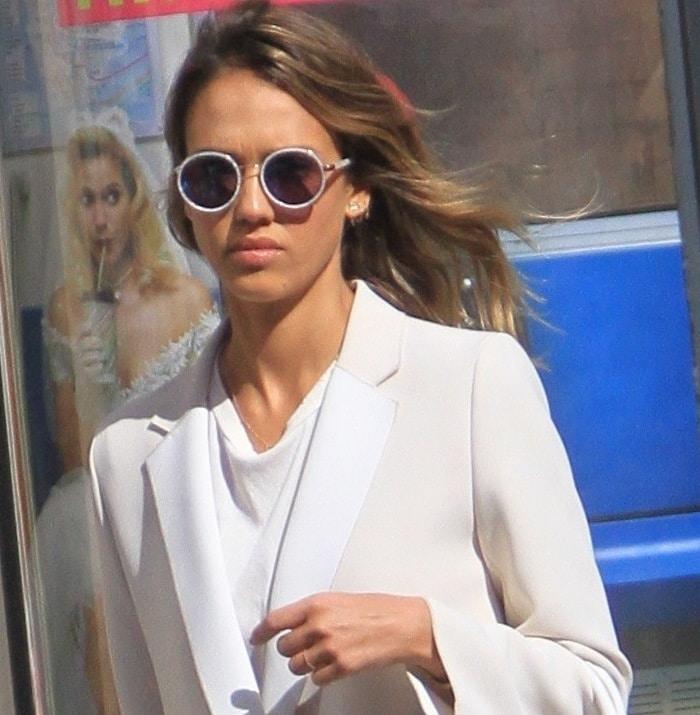 Jessica Alba's long white coat