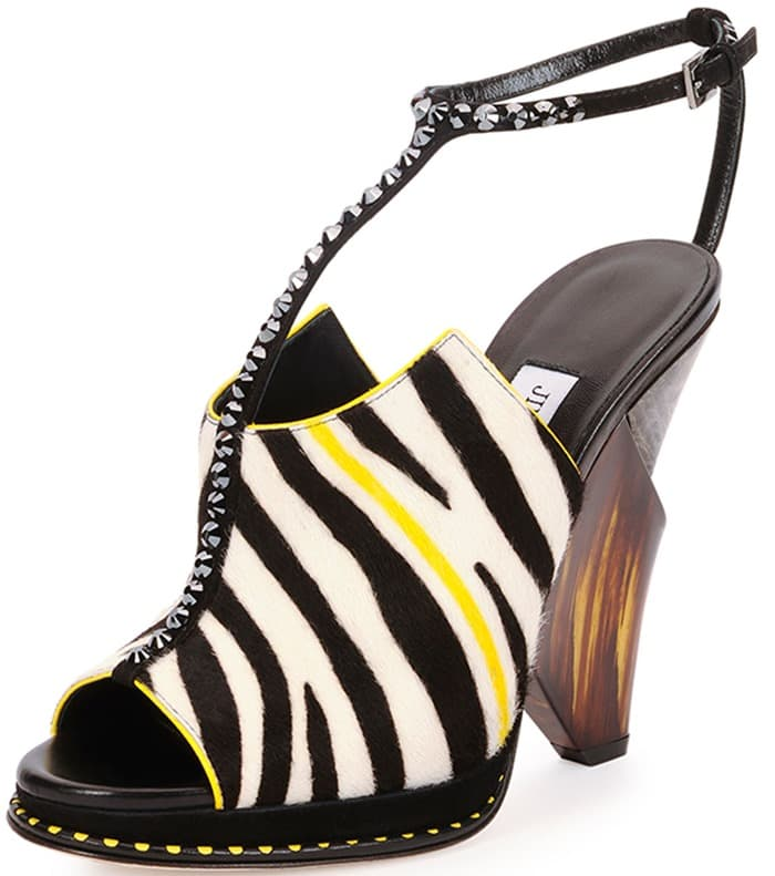 Jimmy Choo Kascade Calf Hair Crystal-Strap Wedge Sandals
