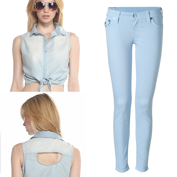 Joyce Leslie Square Dance Chambray Tie Blouse and True Religion Sky Misty Legging Finnigan Jeans