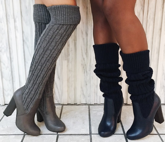 Kallia Over-the Knee Faux-Leather and Sweater-Knit Boots