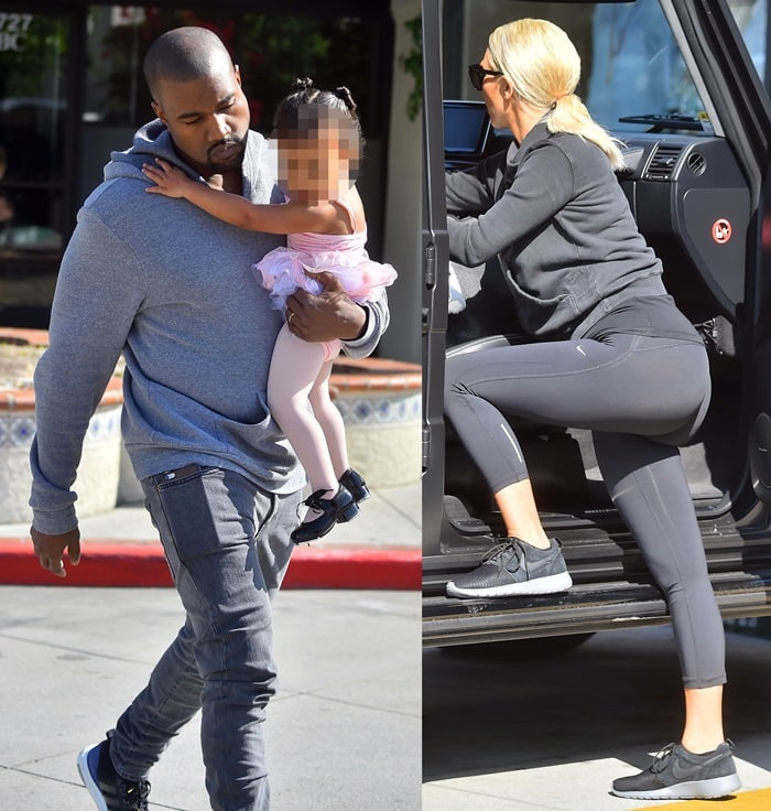 Kim Kardashian and Kanye West take North to ballet dance class in Calabasas on March 19, 2015