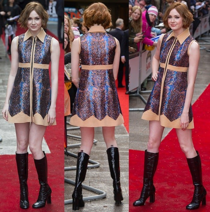 Karen Gillan futuristic and retro Louis Vuitton dress