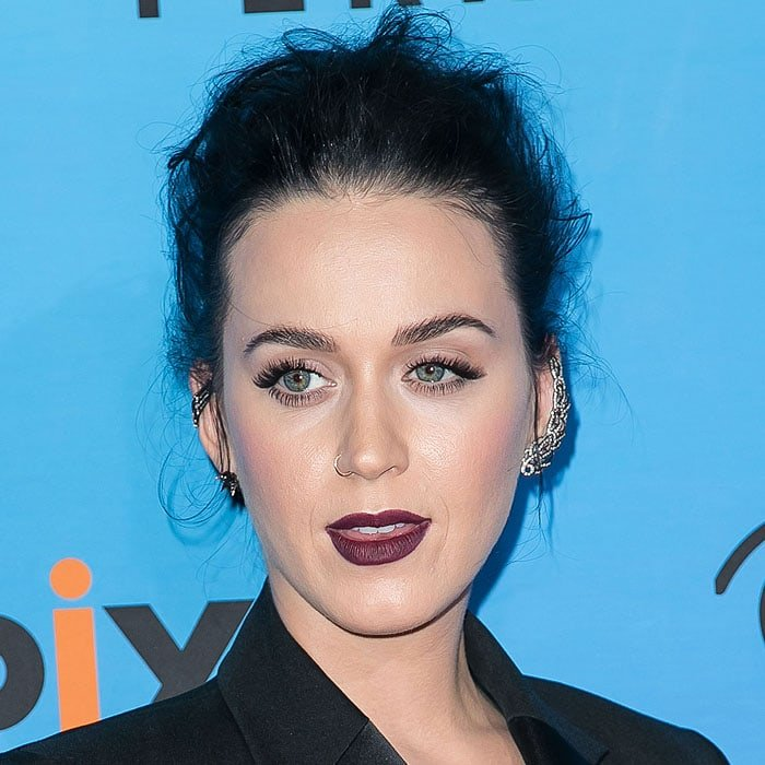 Katy Perry rocking some heavy metal piercings in her ears and through her nose