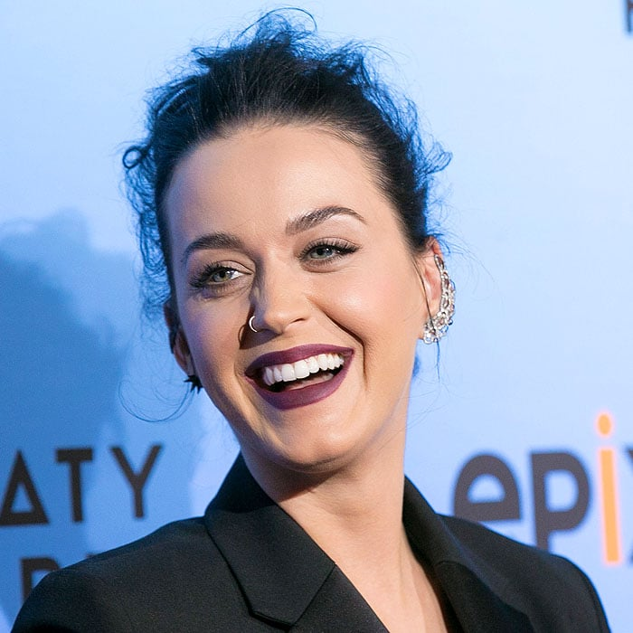 "Katy Perry having a laugh at the world premiere screening of ""Katy Perry: The Prismatic World Tour"""