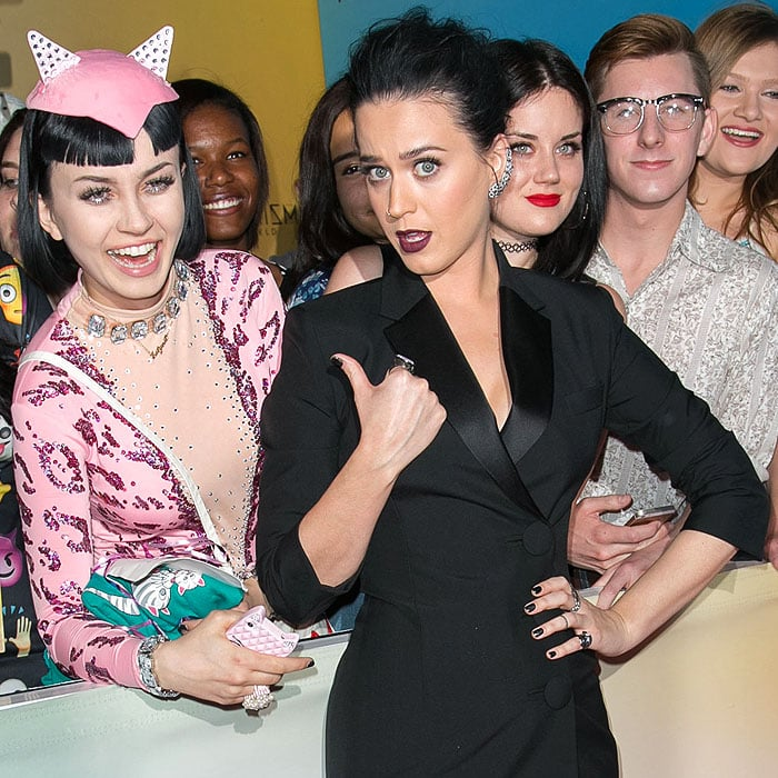 Katy Perry posing with a fan dressed as a pink cat