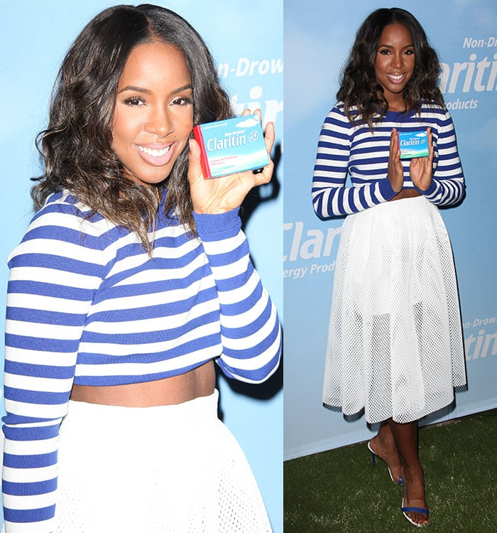 Kelly Rowland in a blue-and-white ensemble at a Claritin event to kick off the first day of spring in New York City on March 20, 2015