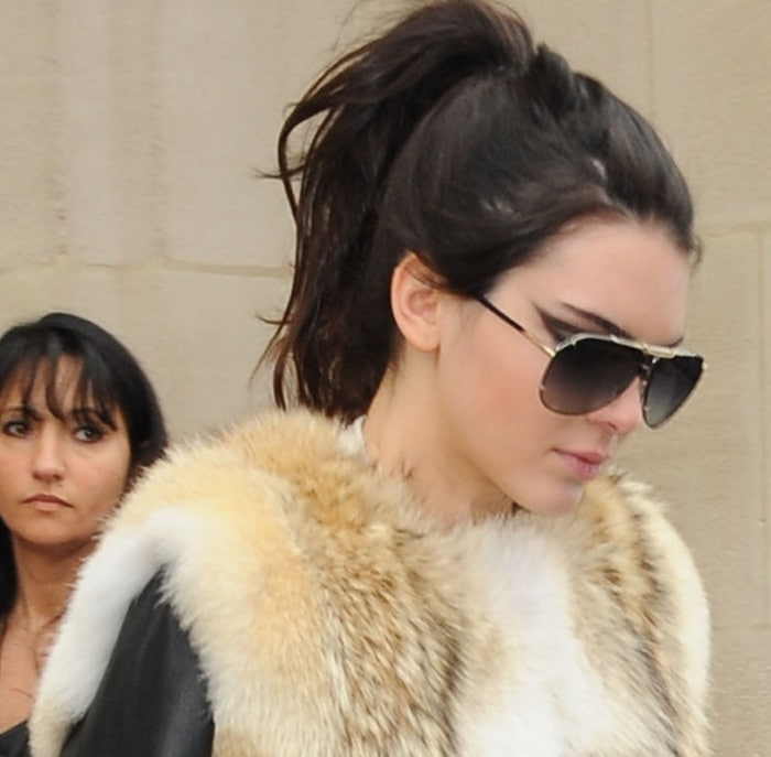 Kendall Jenner's fur coat at the Chanel presentation