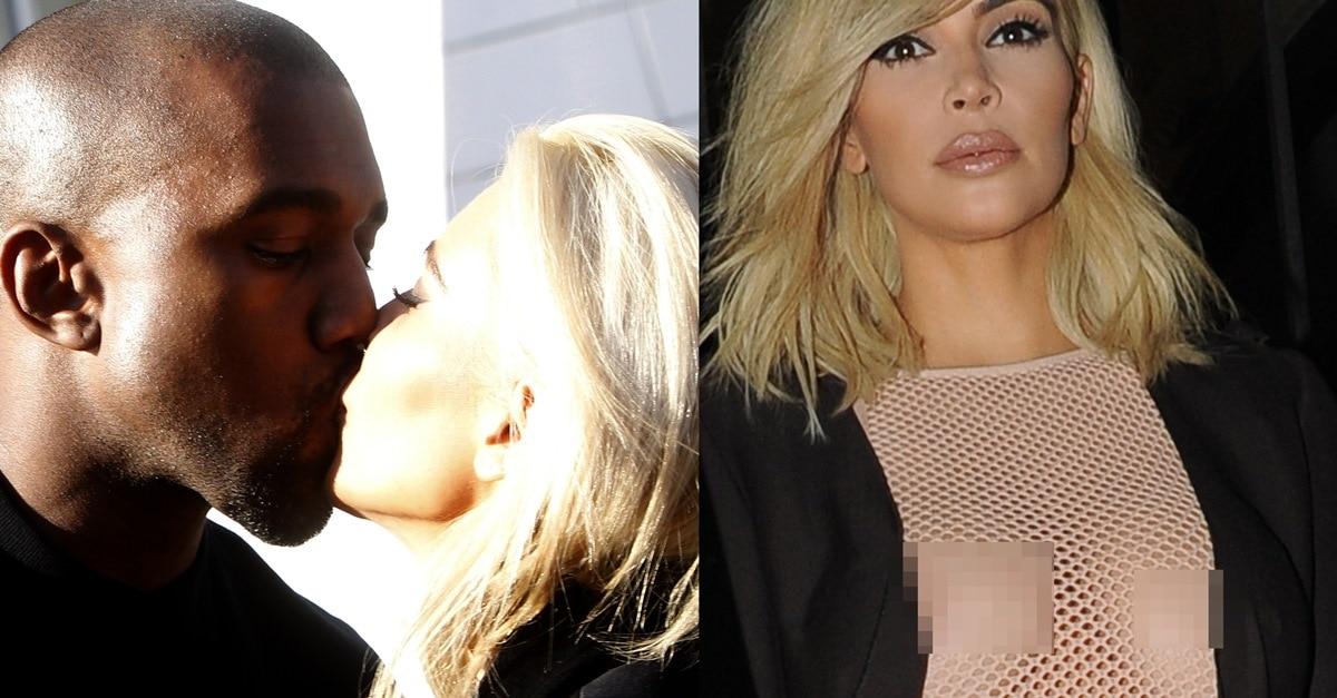 Kim Kardashian S Nipples In See Through Mesh Dress And