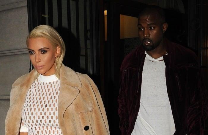 Kim Kardashian and Kanye West heading for the Balenciaga Fashion Show in Paris, France, on March 6, 2015