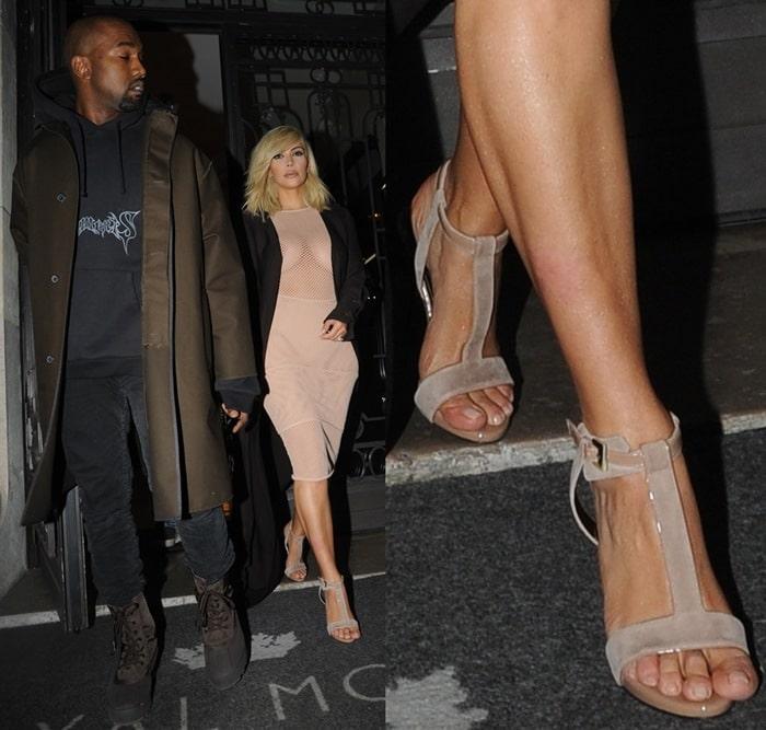 Kim Kardashian with her husband Kanye West at the Lanvin show
