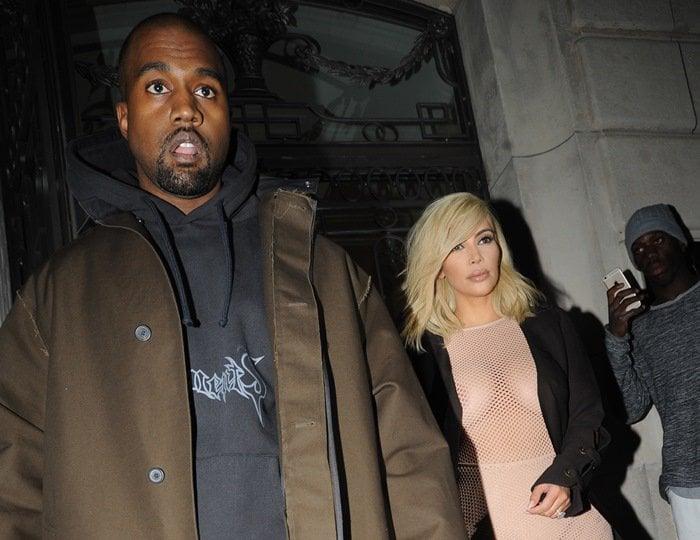 Kim Kardashian'sBridget Jones-style underwear could be seen underneath her dress