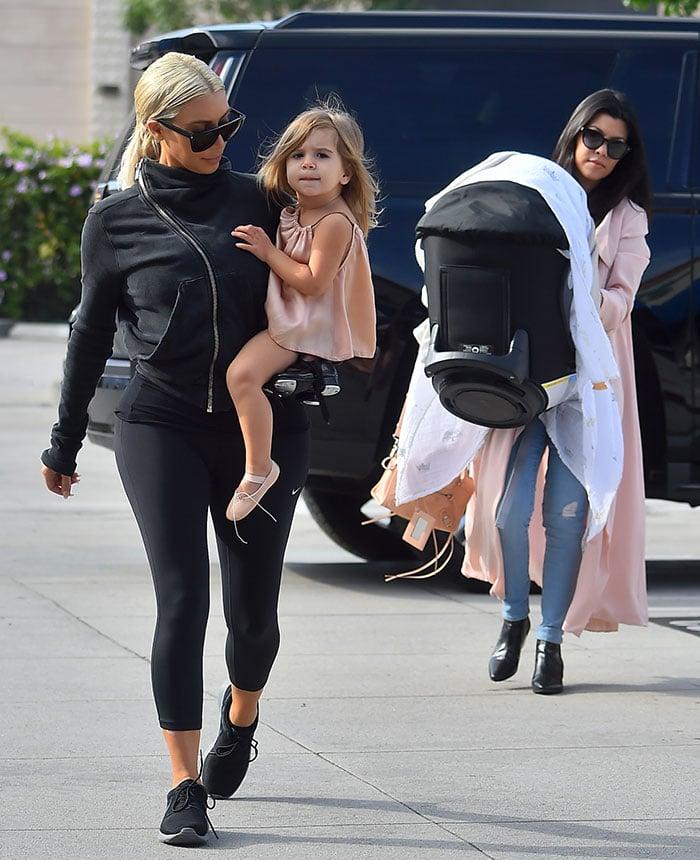 Kourtney Kardashian was joined by her sister Kim