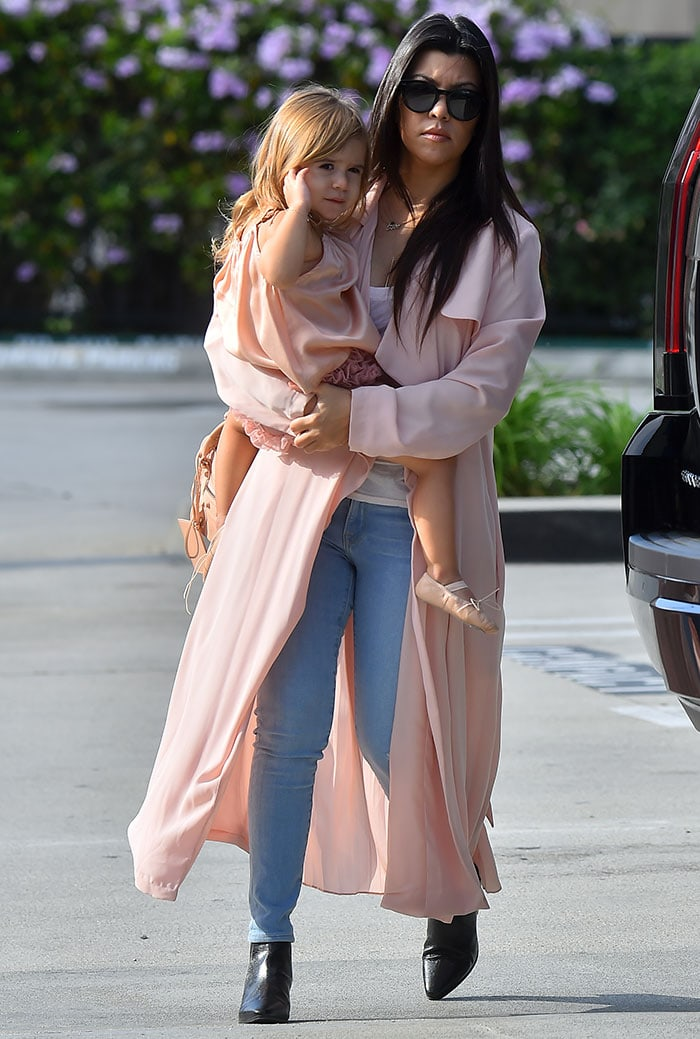 Kourtney Kardashian taking daughter Penelope to a ballet class at Miss Melodee Studios in Los Angeles on March 19, 2015