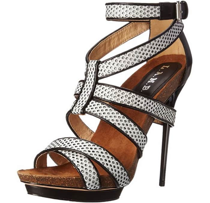 """L.A.M.B. """"Beatrice"""" Sandals in Black/White"""