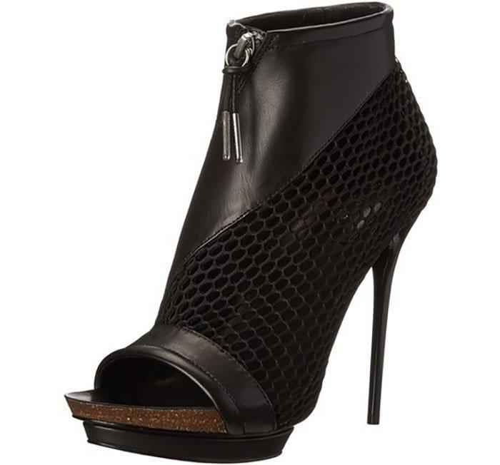 LAMB Bicara Leather and Mesh Platform Booties Black